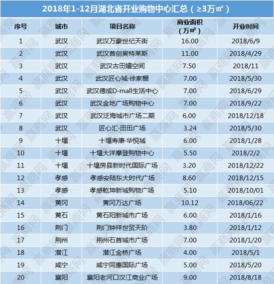 2018年湖北省已开业商业项目20个 商业体量近140万方