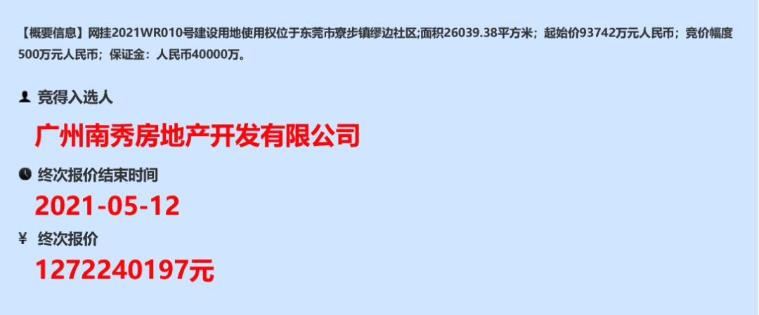 越秀地产首进东莞,12.72亿拿下寮步缪边社区商住地