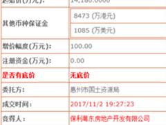 保利地产近4亿获惠州小金口3万�O商住地 溢价率为182%