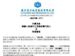 富力地产:中证监恢复公司A股发行申请文件的审查