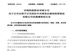 泛海控股对武汉中央商务区建设投资公司增资50亿元