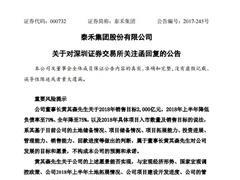泰禾集团回复关注函:2000亿元销售目标属董事长对公司的愿景