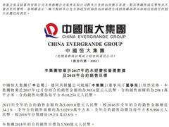 中国恒大2017年迈过5000亿元关口 全年销售额5009.6亿元