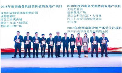 """自贡华商爱琴海项目荣获""""2018年度西南商业地产备受关注项目""""奖"""