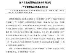 皇庭国际董事长郑康豪已正常履职 总经理陈小海不再代行职务