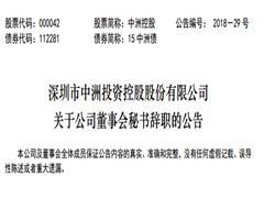 中洲控股:副总裁尹善峰辞任董秘 董事长姚日波暂代任