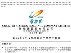 碧桂园2017年合同销售额达5508亿元 跃居行业第一