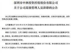 中洲控股副总裁林长青离职 今年以来人事变动频繁