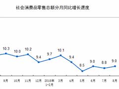 统计局:前8月社会消费品零售总额同比增长9.3%