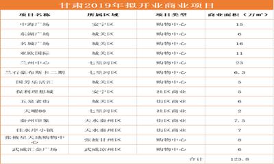 赢商盘点:2019年甘肃拟开商业项目14个 新增商业体量达百万方