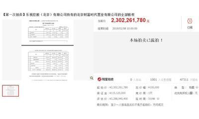 乐视旗下世茂工三项目遭遇流拍 起拍价为23.02亿元