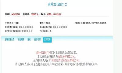 广州百亿土拍今日落幕 星河66.78亿拿下南沙东湾村旧改