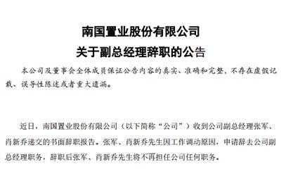南国置业:副总经理张军、肖新乔辞职 新聘任李明轩等4人