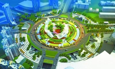 """武汉光谷广场综合体""""星河""""雏形初显 最高处达13层楼高"""