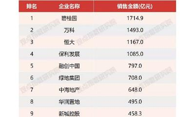 1-3月房企销售金额TOP100:碧万恒稳居前三、企业占位雏形显现